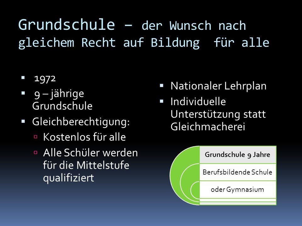 Grundschule – der Wunsch nach gleichem Recht auf Bildung für alle 1972 9 – jährige Grundschule Gleichberechtigung: Kostenlos für alle Alle Schüler wer