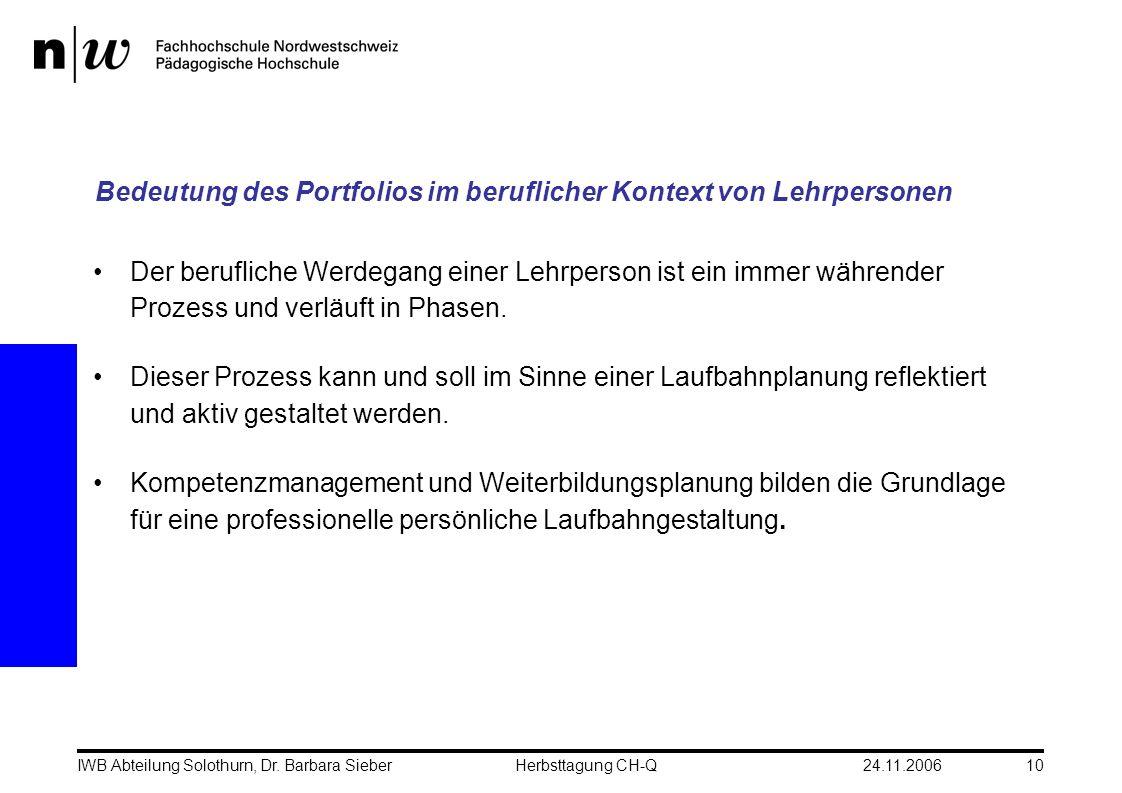 24.11.2006IWB Abteilung Solothurn, Dr. Barbara SieberHerbsttagung CH-Q10 Der berufliche Werdegang einer Lehrperson ist ein immer währender Prozess und