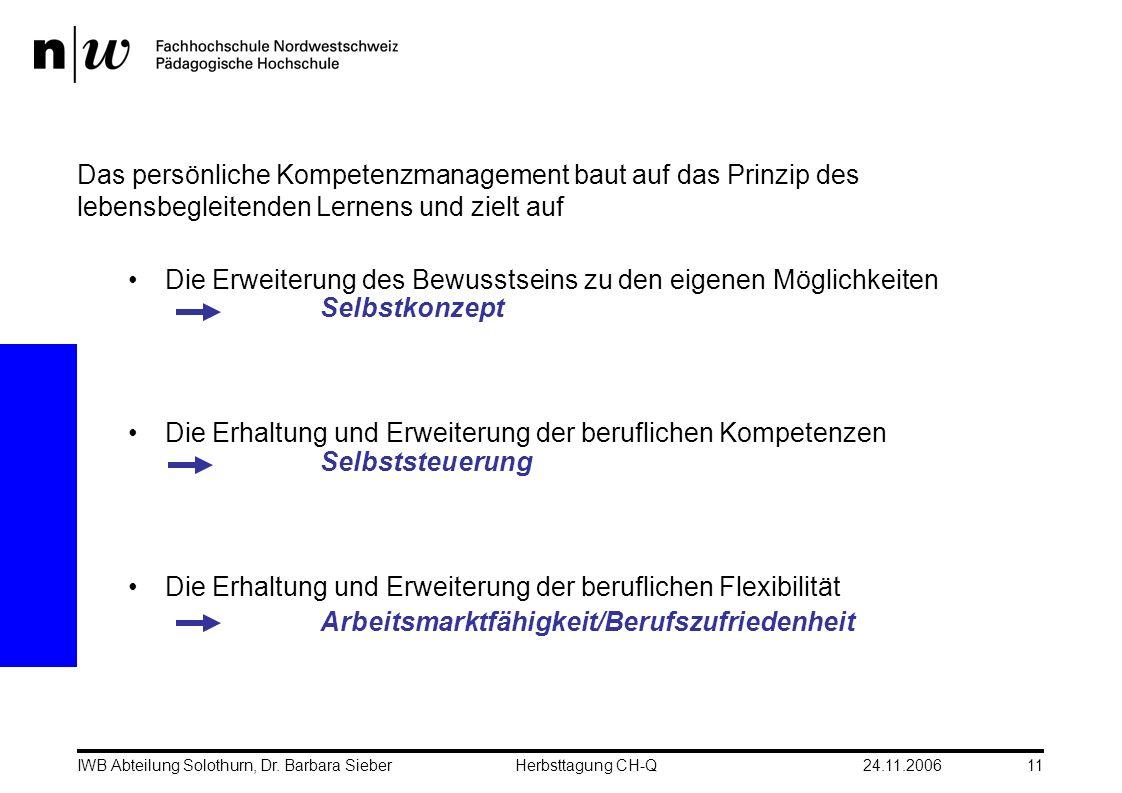 24.11.2006IWB Abteilung Solothurn, Dr. Barbara SieberHerbsttagung CH-Q11 Das persönliche Kompetenzmanagement baut auf das Prinzip des lebensbegleitend