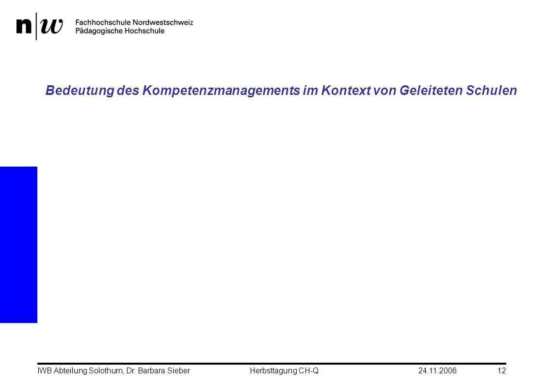 24.11.2006IWB Abteilung Solothurn, Dr. Barbara SieberHerbsttagung CH-Q12 Bedeutung des Kompetenzmanagements im Kontext von Geleiteten Schulen