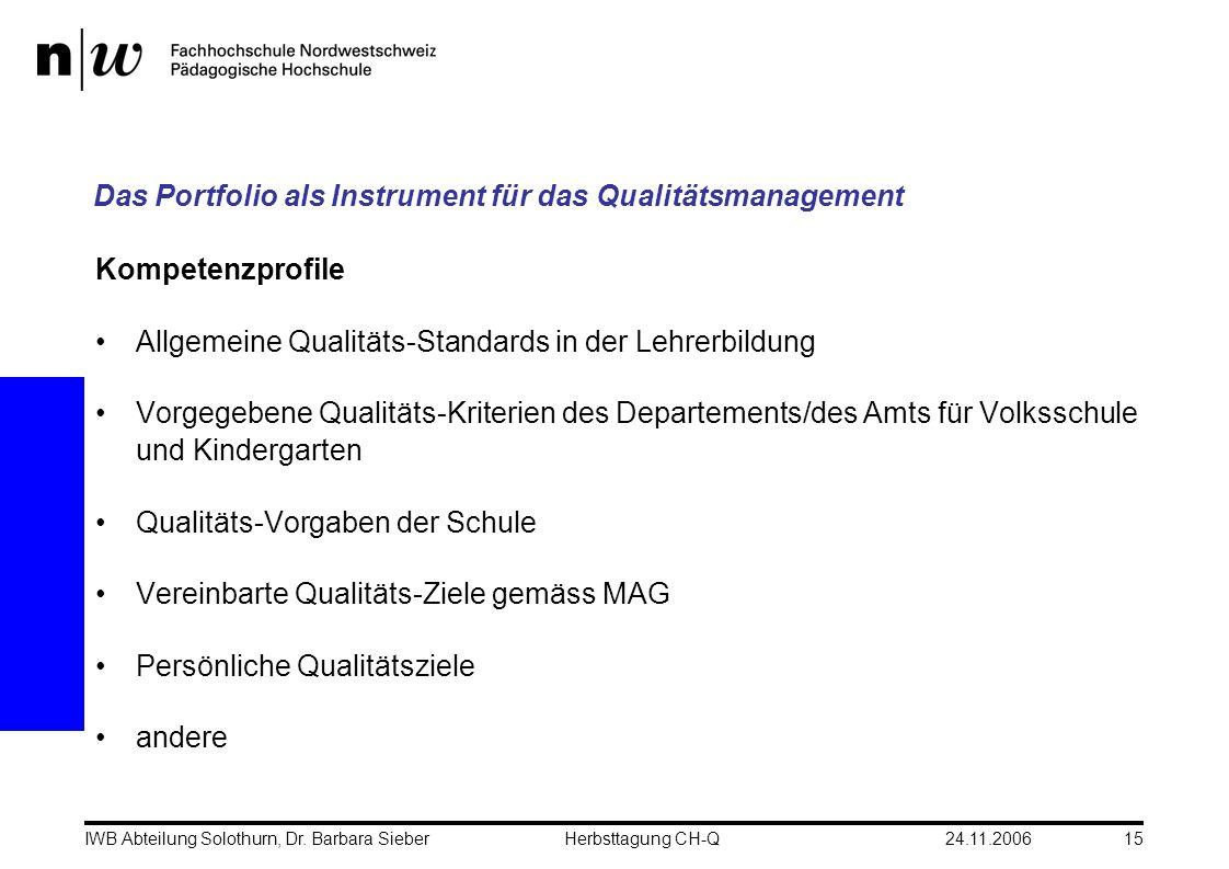 24.11.2006IWB Abteilung Solothurn, Dr. Barbara SieberHerbsttagung CH-Q15 Das Portfolio als Instrument für das Qualitätsmanagement Kompetenzprofile All
