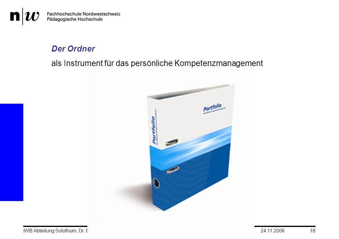 24.11.2006IWB Abteilung Solothurn, Dr. Barbara SieberHerbsttagung CH-Q18 Der Ordner als Instrument für das persönliche Kompetenzmanagement
