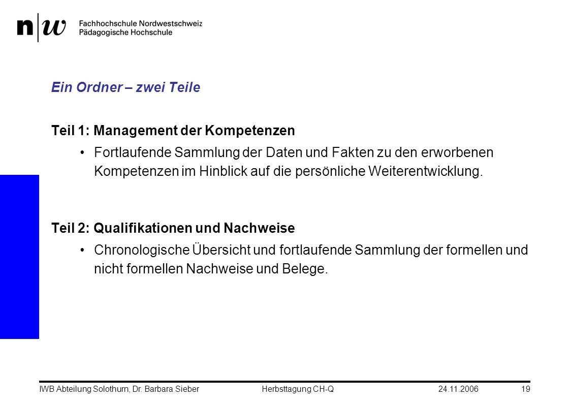 24.11.2006IWB Abteilung Solothurn, Dr. Barbara SieberHerbsttagung CH-Q19 Ein Ordner – zwei Teile Teil 1: Management der Kompetenzen Fortlaufende Samml