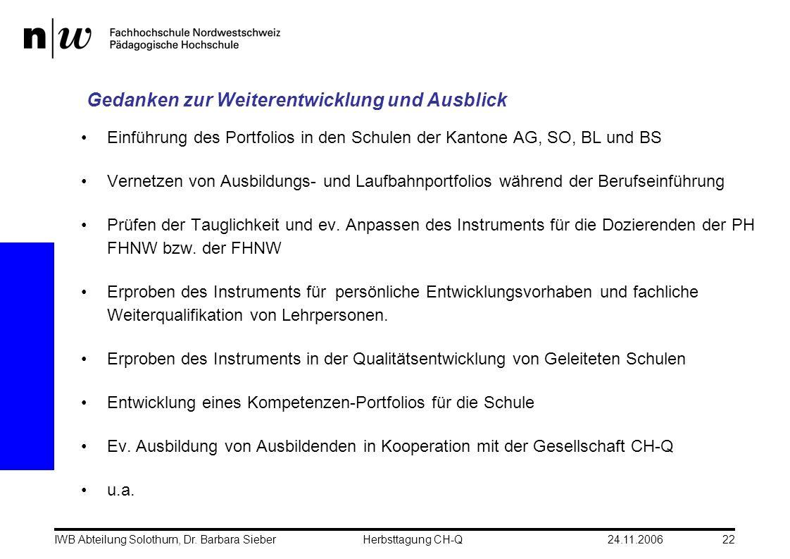 24.11.2006IWB Abteilung Solothurn, Dr. Barbara SieberHerbsttagung CH-Q22 Gedanken zur Weiterentwicklung und Ausblick Einführung des Portfolios in den