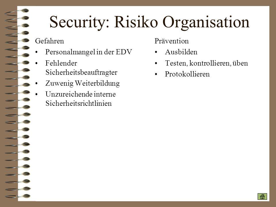 Security: Risiko Organisation Gefahren Personalmangel in der EDV Fehlender Sicherheitsbeauftragter Zuwenig Weiterbildung Unzureichende interne Sicherh