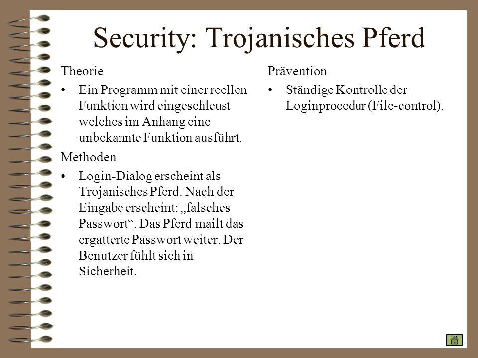 Security: Trojanisches Pferd Theorie Ein Programm mit einer reellen Funktion wird eingeschleust welches im Anhang eine unbekannte Funktion ausführt. M