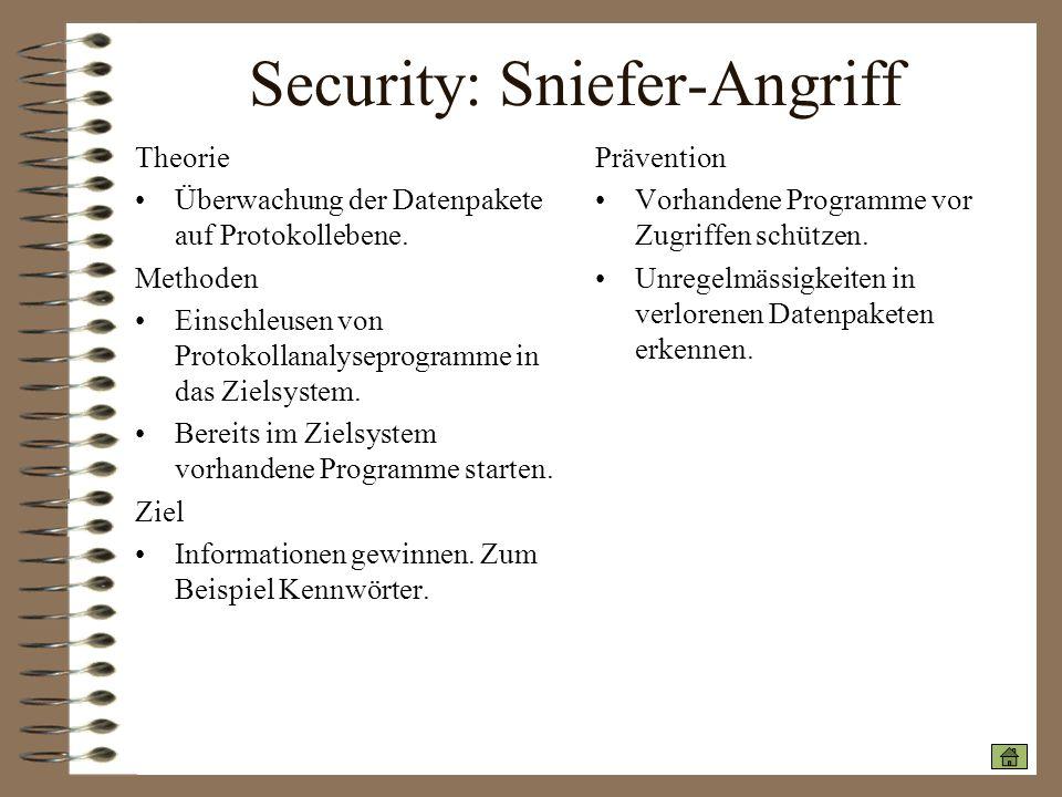 Security: Sniefer-Angriff Theorie Überwachung der Datenpakete auf Protokollebene. Methoden Einschleusen von Protokollanalyseprogramme in das Zielsyste