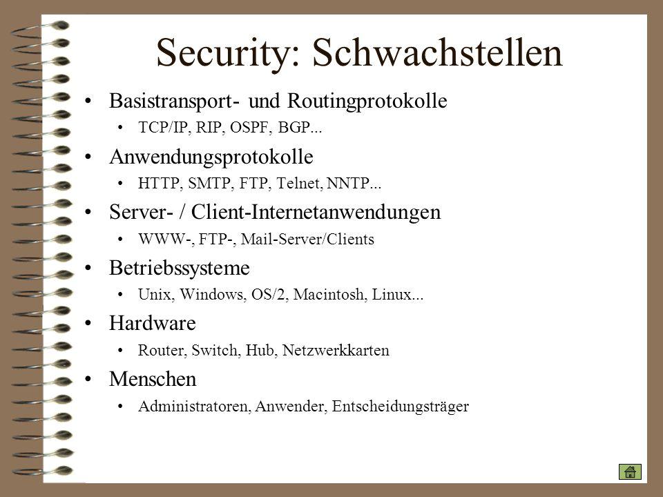 Security: Schwachstellen Basistransport- und Routingprotokolle TCP/IP, RIP, OSPF, BGP... Anwendungsprotokolle HTTP, SMTP, FTP, Telnet, NNTP... Server-