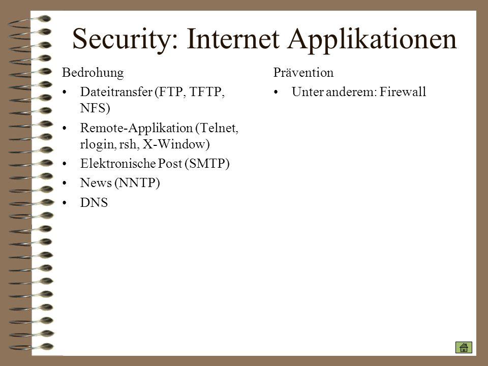 Security: Internet Applikationen Bedrohung Dateitransfer (FTP, TFTP, NFS) Remote-Applikation (Telnet, rlogin, rsh, X-Window) Elektronische Post (SMTP)
