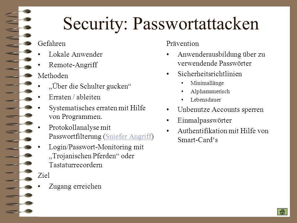 Security: Passwortattacken Gefahren Lokale Anwender Remote-Angriff Methoden Über die Schulter gucken Erraten / ableiten Systematisches erraten mit Hil