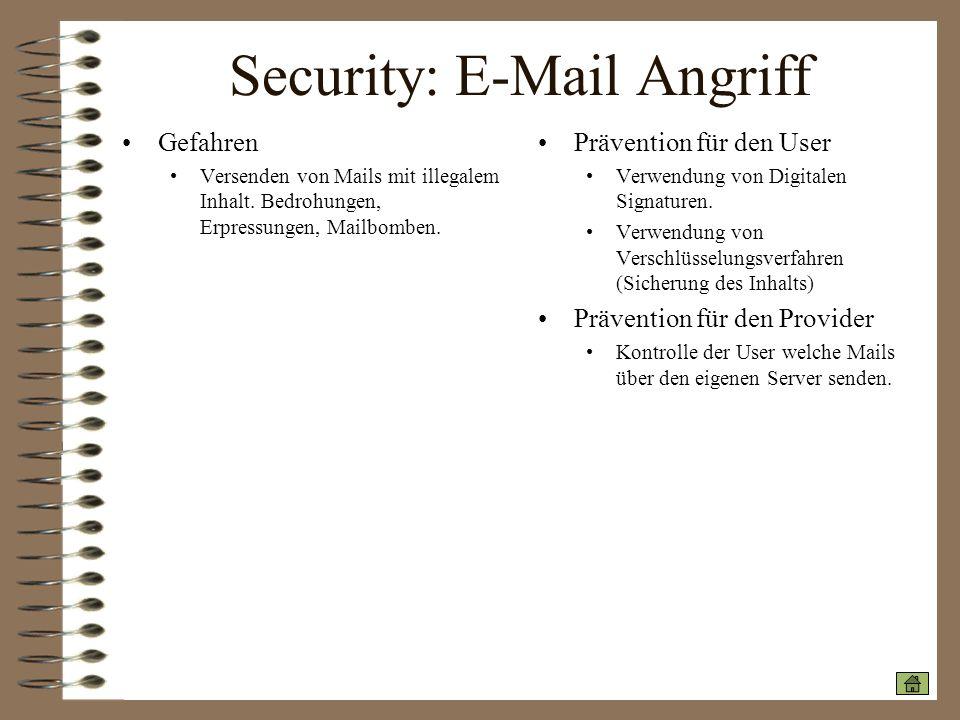 Security: E-Mail Angriff Gefahren Versenden von Mails mit illegalem Inhalt. Bedrohungen, Erpressungen, Mailbomben. Prävention für den User Verwendung