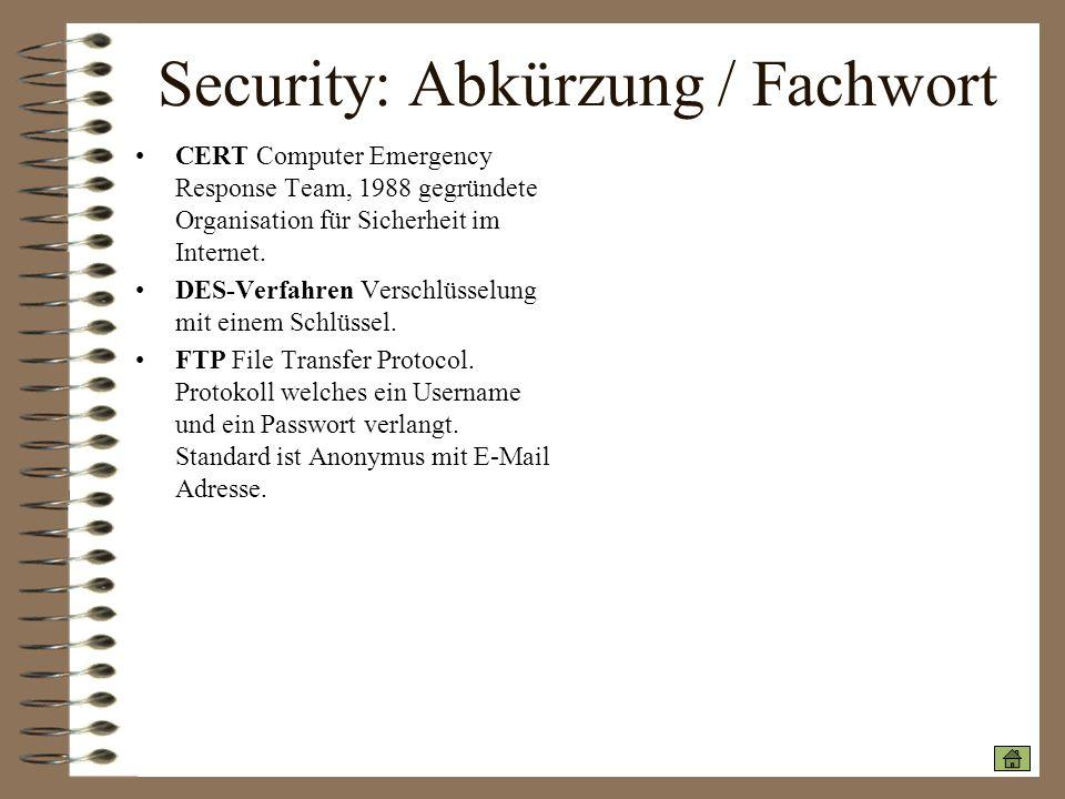 Security: Abkürzung / Fachwort CERT Computer Emergency Response Team, 1988 gegründete Organisation für Sicherheit im Internet. DES-Verfahren Verschlüs