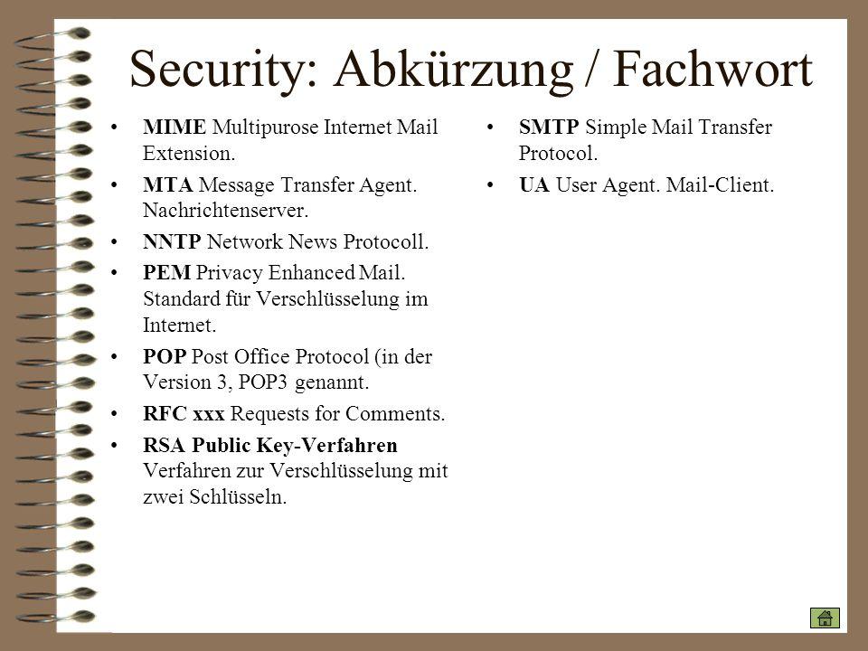 Security: Abkürzung / Fachwort MIME Multipurose Internet Mail Extension. MTA Message Transfer Agent. Nachrichtenserver. NNTP Network News Protocoll. P