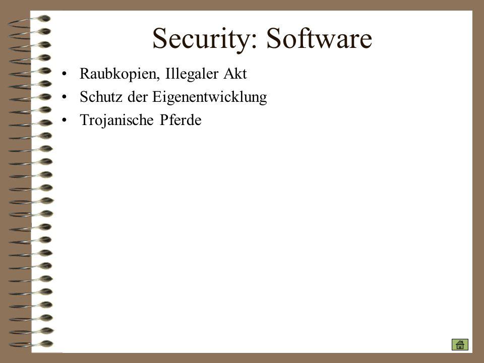 Security: Software Raubkopien, Illegaler Akt Schutz der Eigenentwicklung Trojanische Pferde