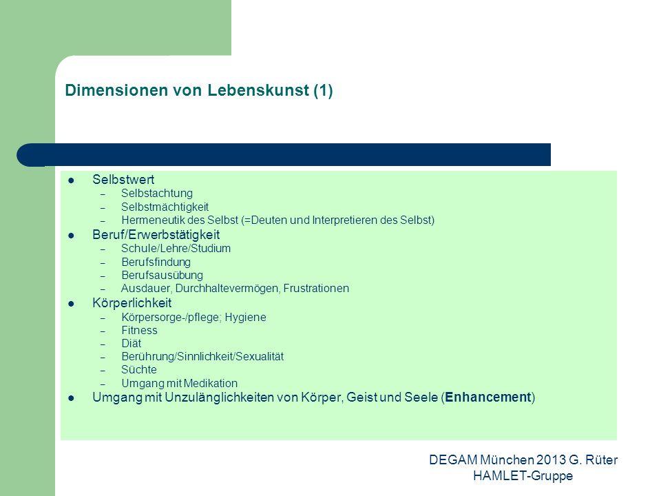 DEGAM München 2013 G. Rüter HAMLET-Gruppe Dimensionen von Lebenskunst (1) Selbstwert – Selbstachtung – Selbstmächtigkeit – Hermeneutik des Selbst (=De