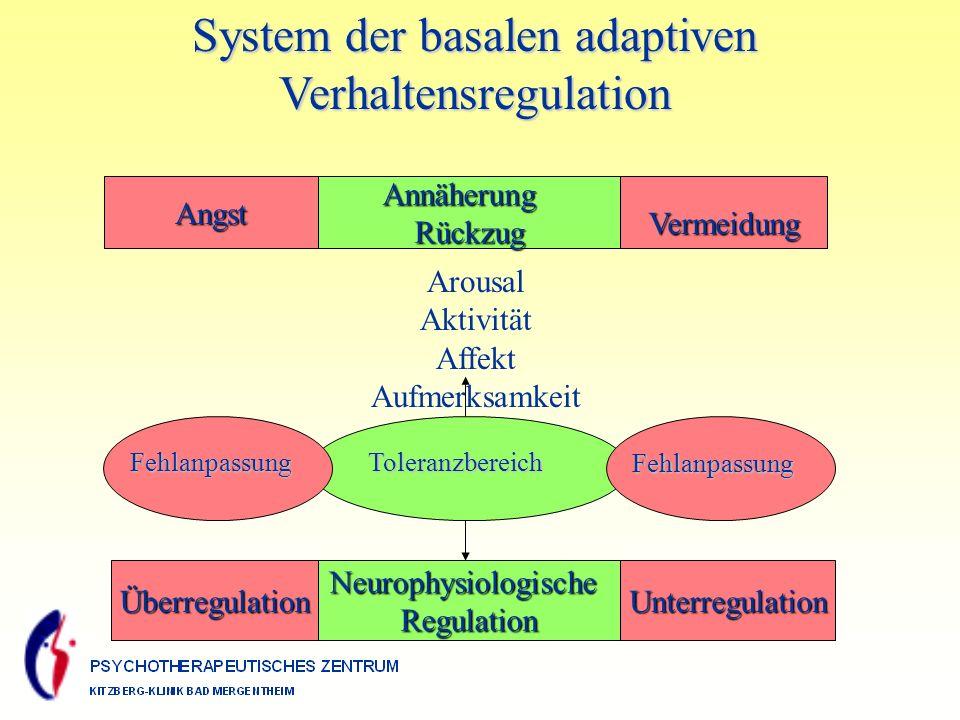 System der basalen adaptiven Verhaltensregulation AngstAnnäherungRückzugVermeidung Arousal Aktivität Affekt Aufmerksamkeit ÜberregulationNeurophysiologischeRegulationUnterregulation FehlanpassungToleranzbereich Fehlanpassung