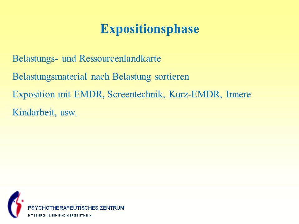 Expositionsphase Belastungs- und Ressourcenlandkarte Belastungsmaterial nach Belastung sortieren Exposition mit EMDR, Screentechnik, Kurz-EMDR, Innere Kindarbeit, usw.