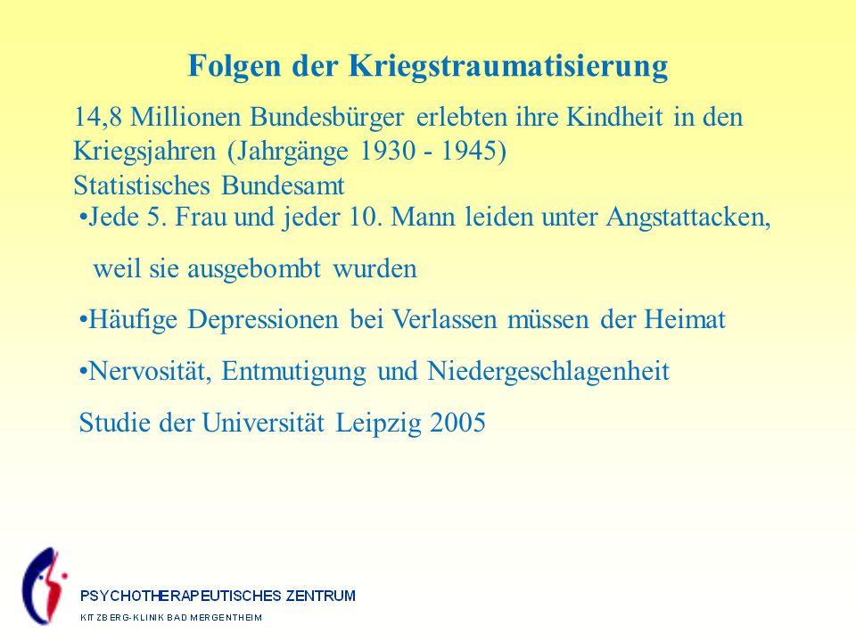 14,8 Millionen Bundesbürger erlebten ihre Kindheit in den Kriegsjahren (Jahrgänge 1930 - 1945) Statistisches Bundesamt Jede 5.