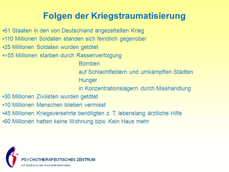 61 Staaten in den von Deutschland angezettelten Krieg 110 Millionen Soldaten standen sich feindlich gegenüber 25 Millionen Soldaten wurden getötet >55 Millionen starben durch Rassenverfolgung Bomben auf Schlachtfeldern und umkämpften Städten Hunger in Konzentrationslagern durch Misshandlung 30 Millionen Zivilisten wurden getötet 10 Millionen Menschen blieben vermisst 45 Millionen Kriegsversehrte benötigten z.