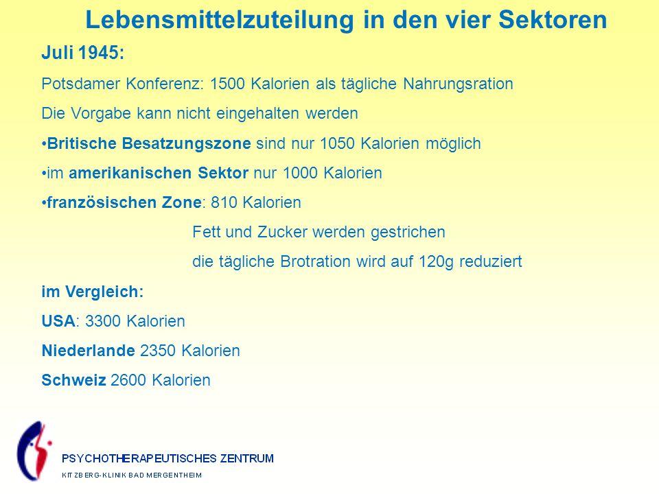 Lebensmittelzuteilung in den vier Sektoren Juli 1945: Potsdamer Konferenz: 1500 Kalorien als tägliche Nahrungsration Die Vorgabe kann nicht eingehalten werden Britische Besatzungszone sind nur 1050 Kalorien möglich im amerikanischen Sektor nur 1000 Kalorien französischen Zone: 810 Kalorien Fett und Zucker werden gestrichen die tägliche Brotration wird auf 120g reduziert im Vergleich: USA: 3300 Kalorien Niederlande 2350 Kalorien Schweiz 2600 Kalorien