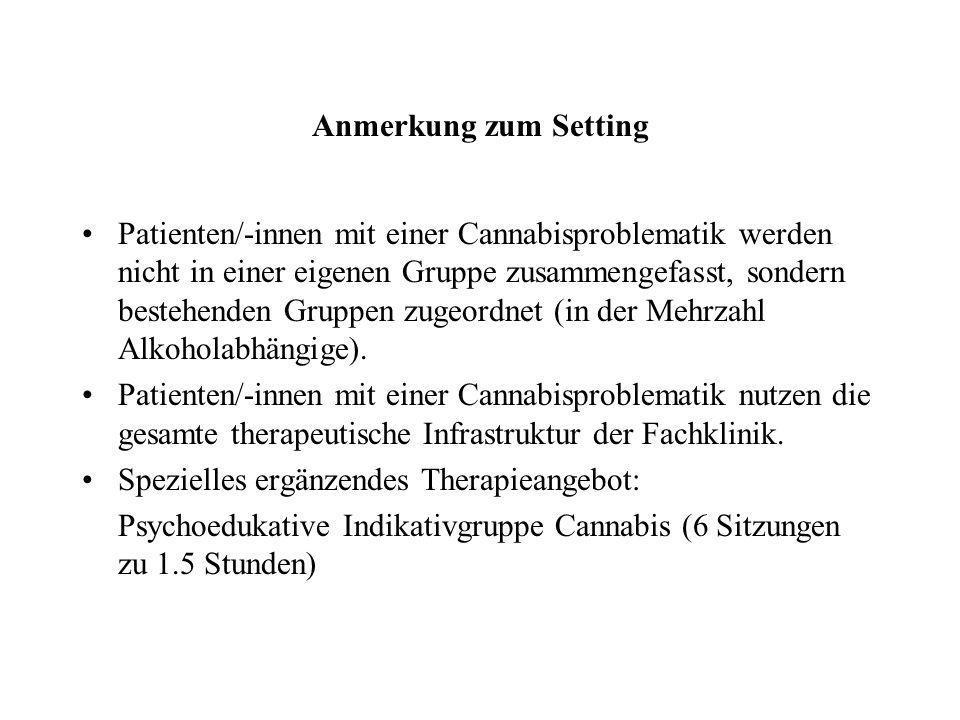 Anmerkung zum Setting Patienten/-innen mit einer Cannabisproblematik werden nicht in einer eigenen Gruppe zusammengefasst, sondern bestehenden Gruppen