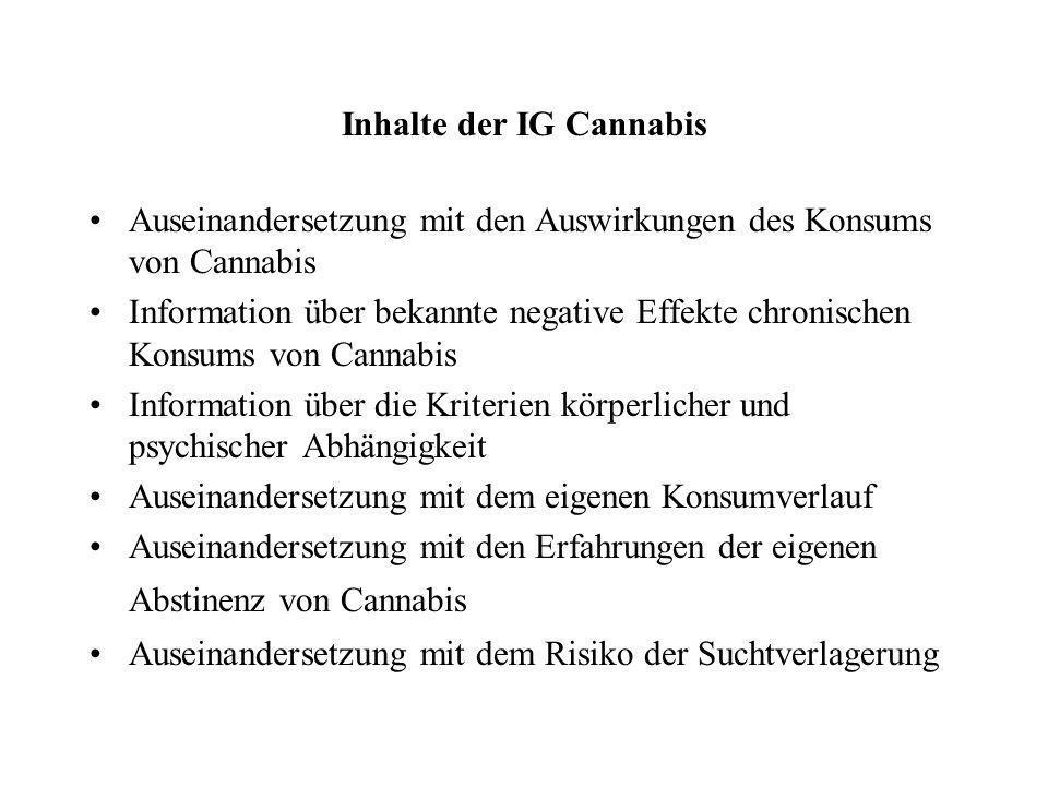 Inhalte der IG Cannabis Auseinandersetzung mit den Auswirkungen des Konsums von Cannabis Information über bekannte negative Effekte chronischen Konsum