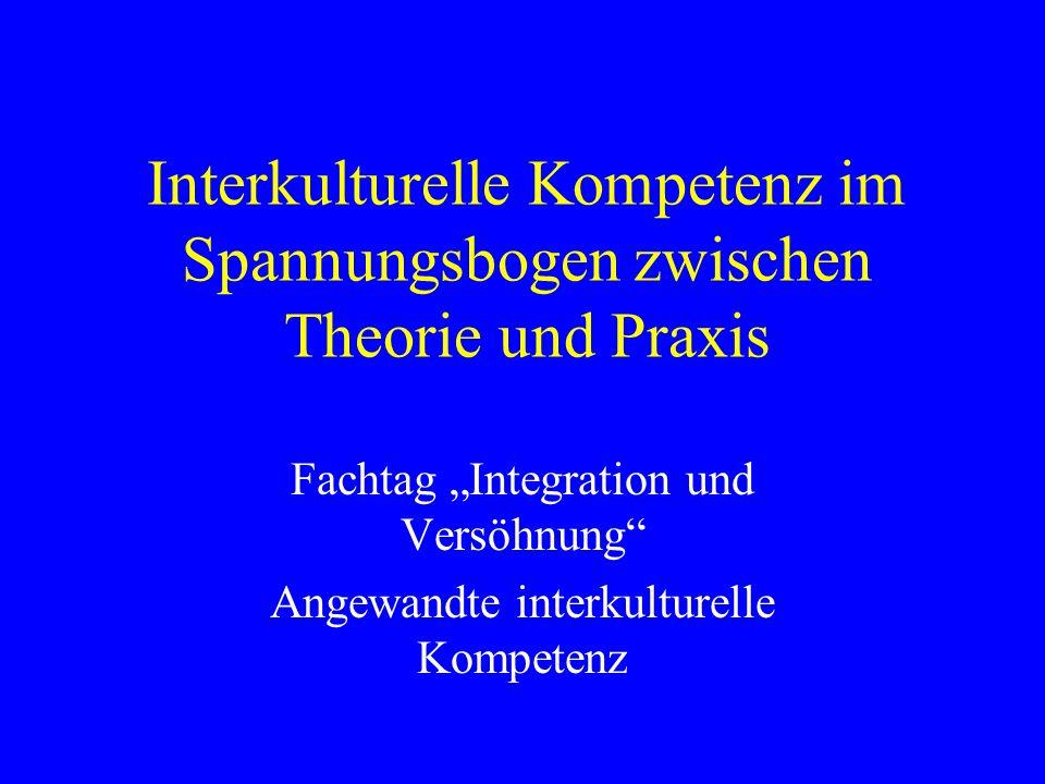 Interkulturelle Kompetenz im Spannungsbogen zwischen Theorie und Praxis Fachtag Integration und Versöhnung Angewandte interkulturelle Kompetenz
