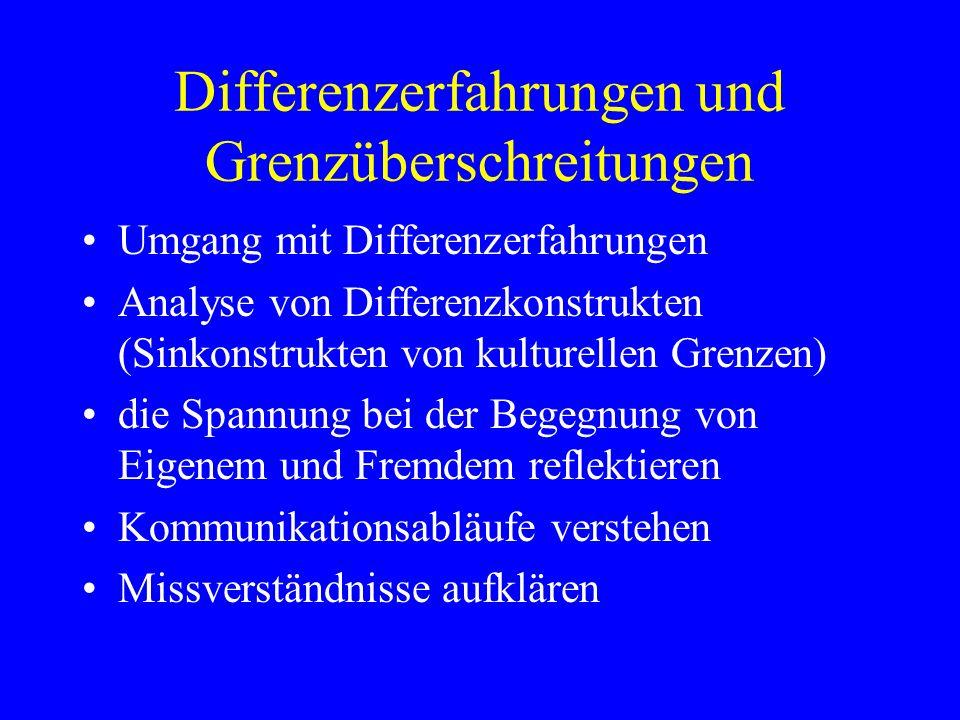 Differenzerfahrungen und Grenzüberschreitungen Umgang mit Differenzerfahrungen Analyse von Differenzkonstrukten (Sinkonstrukten von kulturellen Grenze