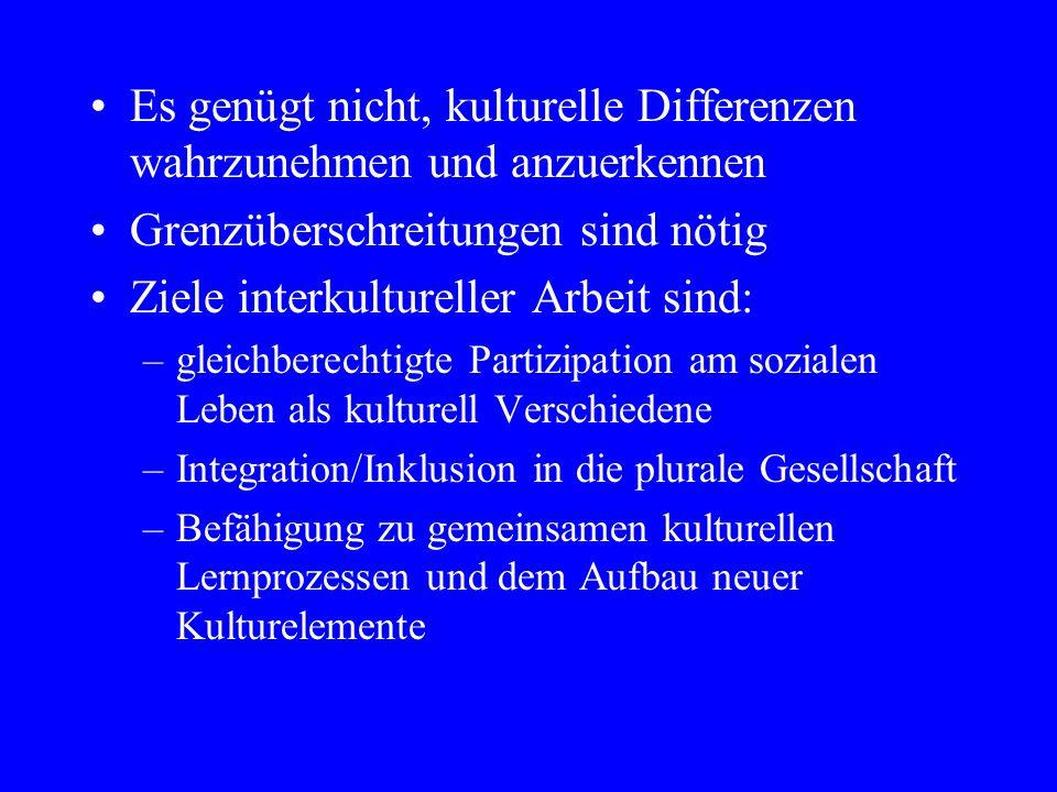 Es genügt nicht, kulturelle Differenzen wahrzunehmen und anzuerkennen Grenzüberschreitungen sind nötig Ziele interkultureller Arbeit sind: –gleichberechtigte Partizipation am sozialen Leben als kulturell Verschiedene –Integration/Inklusion in die plurale Gesellschaft –Befähigung zu gemeinsamen kulturellen Lernprozessen und dem Aufbau neuer Kulturelemente