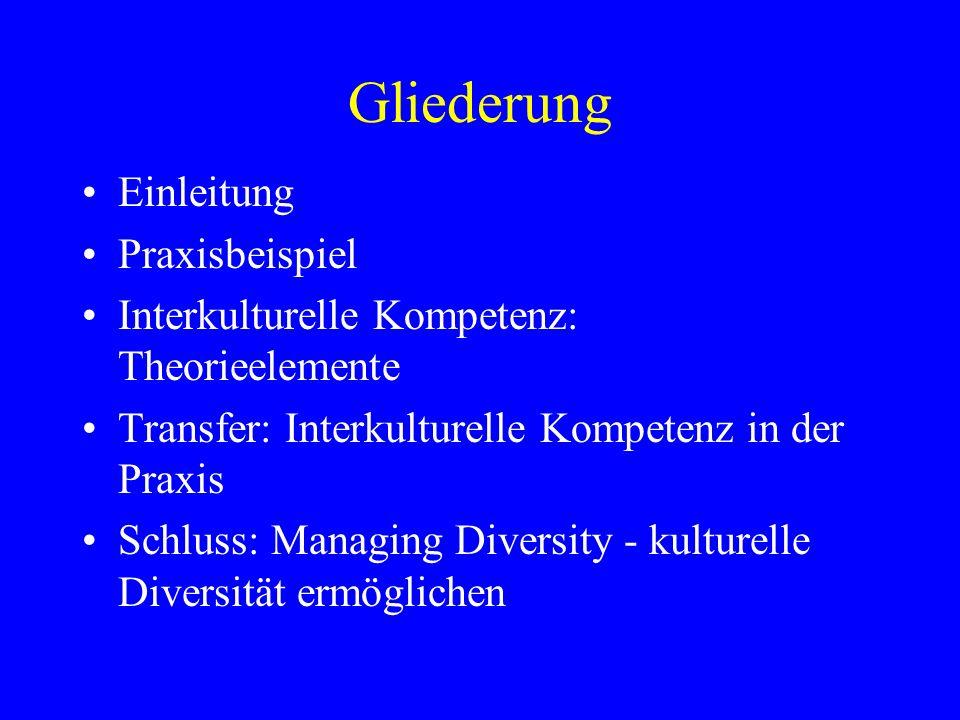 Gliederung Einleitung Praxisbeispiel Interkulturelle Kompetenz: Theorieelemente Transfer: Interkulturelle Kompetenz in der Praxis Schluss: Managing Diversity - kulturelle Diversität ermöglichen