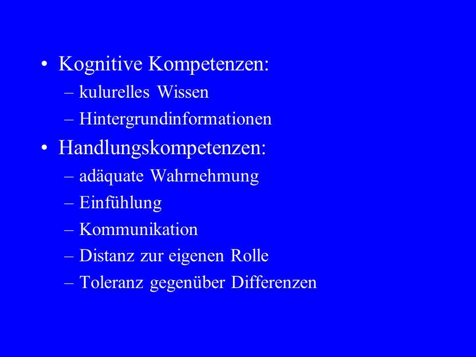Kognitive Kompetenzen: –kulurelles Wissen –Hintergrundinformationen Handlungskompetenzen: –adäquate Wahrnehmung –Einfühlung –Kommunikation –Distanz zur eigenen Rolle –Toleranz gegenüber Differenzen