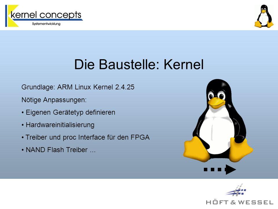 Die Baustelle: Kernel Grundlage: ARM Linux Kernel 2.4.25 Nötige Anpassungen: Eigenen Gerätetyp definieren Hardwareinitialisierung Treiber und proc Interface für den FPGA NAND Flash Treiber...