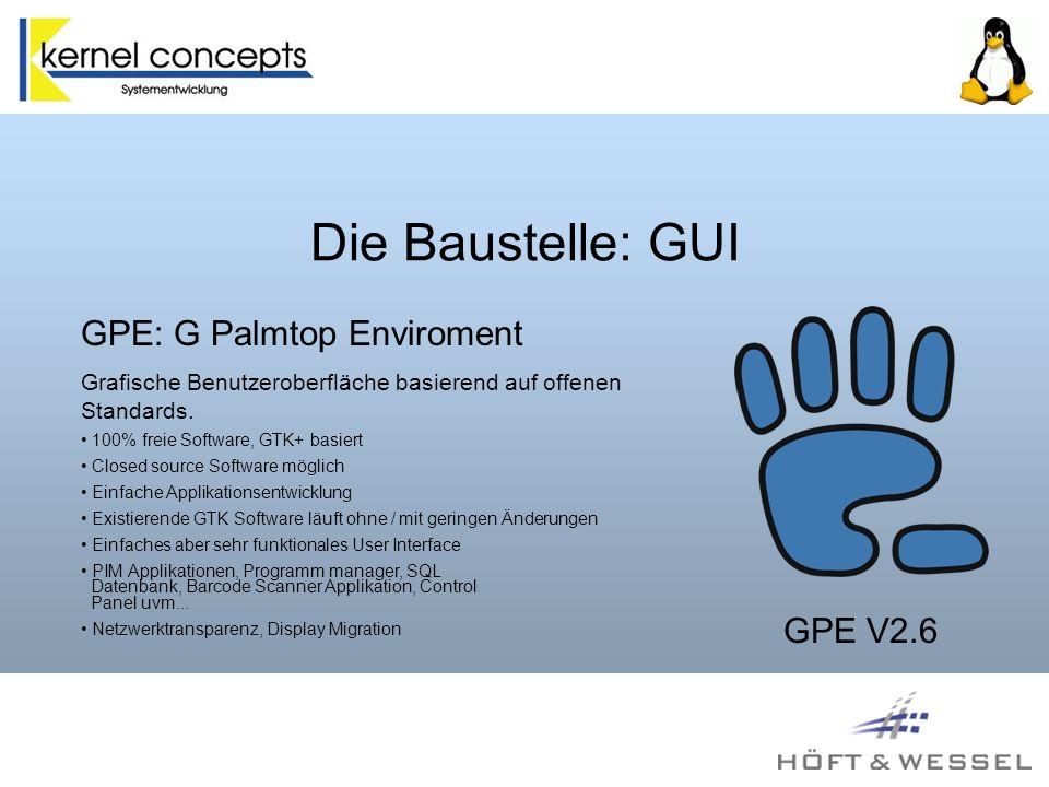 Die Baustelle: GUI GPE: G Palmtop Enviroment Grafische Benutzeroberfläche basierend auf offenen Standards.