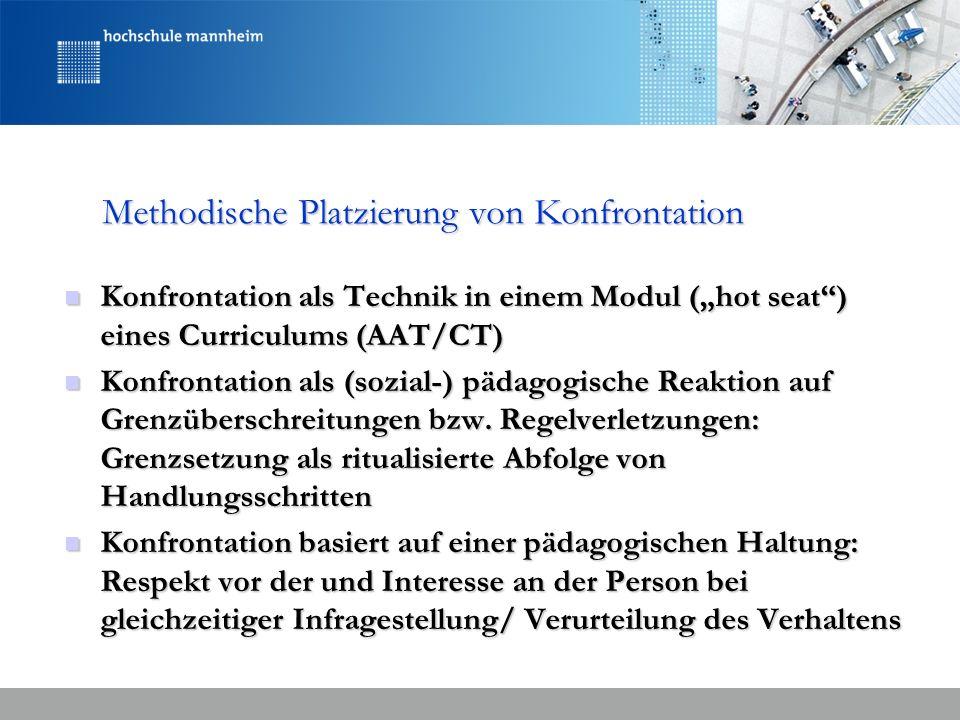 Methodische Platzierung von Konfrontation Konfrontation als Technik in einem Modul (hot seat) eines Curriculums (AAT/CT) Konfrontation als Technik in
