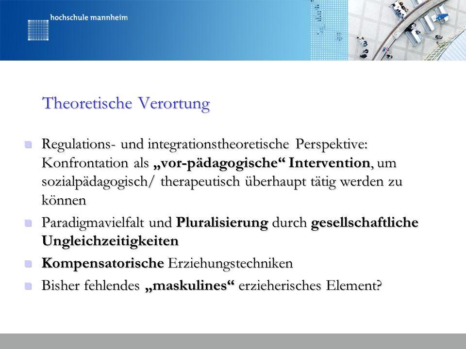 Theoretische Verortung Regulations- und integrationstheoretische Perspektive: Konfrontation als vor-pädagogische Intervention, um sozialpädagogisch/ t