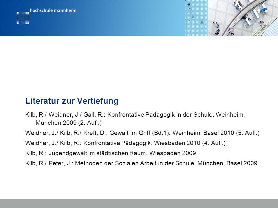 Literatur zur Vertiefung Kilb, R./ Weidner, J./ Gall, R.: Konfrontative Pädagogik in der Schule. Weinheim, München 2009 (2. Aufl.) Weidner, J./ Kilb,