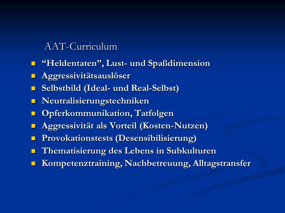 AAT-Curriculum Heldentaten, Lust- und Spaßdimension Heldentaten, Lust- und Spaßdimension Aggressivitätsauslöser Aggressivitätsauslöser Selbstbild (Ide