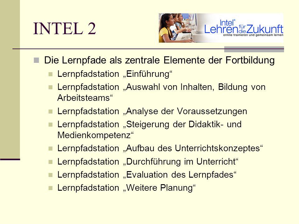 INTEL 2 Zertifizierung erfordert eine Unterrichtseinheit, die bei Erfüllung der Qualitätsansprüche in das Portal eingebaut wird einen Erfahrungsbericht zur Unterrichtseinheit eine Evaluation des Aufbaukurses einen Plan für die eigenen Zielsetzungen in den nächsten 6 Monaten