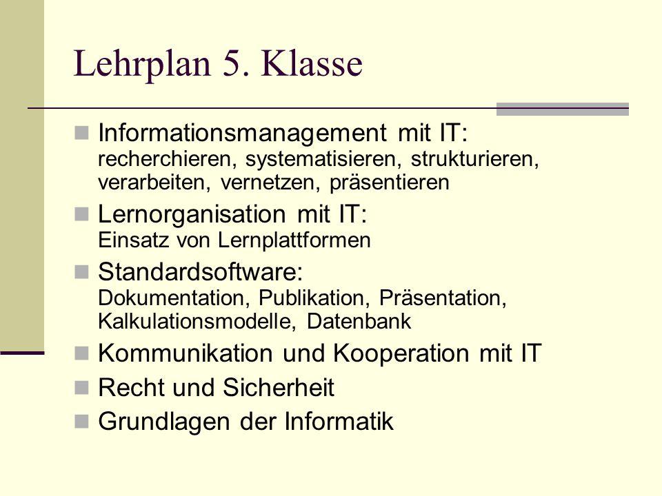 Referenzrahmen für IT Kompetenzen Schulstufen/Schularten 8.