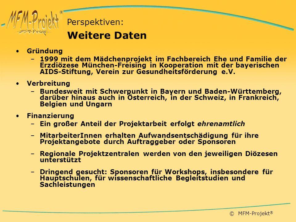 © MFM-Projekt ® Gründung –1999 mit dem Mädchenprojekt im Fachbereich Ehe und Familie der Erzdiözese München-Freising in Kooperation mit der bayerischen AIDS-Stiftung, Verein zur Gesundheitsförderung e.V.