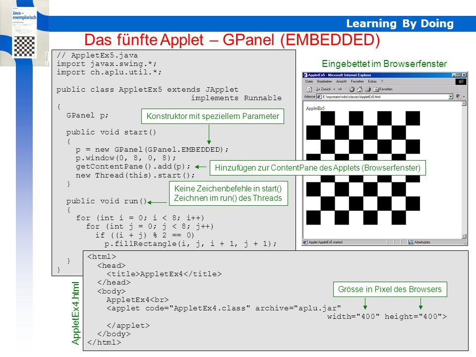 Learning By Doing AppletEx5 – GPanel EMBEDDED // AppletEx5.java import javax.swing.*; import ch.aplu.util.*; public class AppletEx5 extends JApplet im