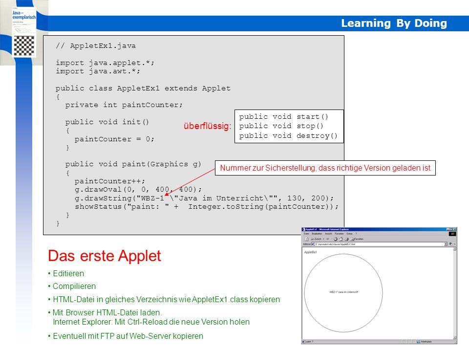 Learning By Doing AppletEx2 // AppletEx2.java import java.applet.*; import java.awt.*; public class AppletEx2 extends Applet { public void paint(Graphics g) { for (int i = 0; i < 100; i++) g.drawOval(i, i, i+10, i+10); } Das zweite Applet (auf den ersten Blick)Extrem einfach Erst vollständiges Bild sichtbar Analog wie bei Applikation main() aufgerufen wird, ist es hier paint(), aber auch jedesmal wenn Fenster zerstört wird Verständnis von extends nötig Gefährliche Applets einfach zu erstellen while (true) {}...