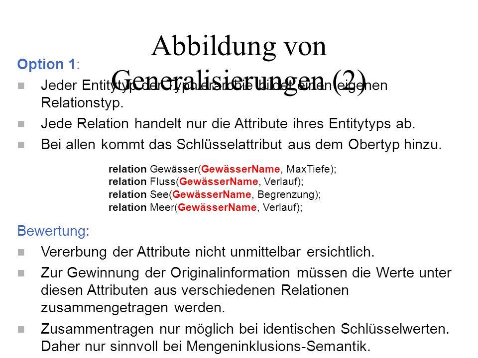 Option 2: n Jeder Entitytyp der Typhierarchie bildet einen eigenen Relationstyp.