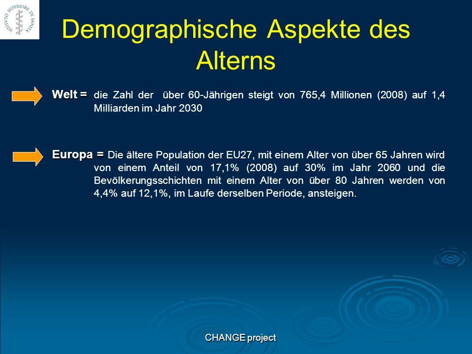 Demographische Aspekte des Alterns Welt = Welt = die Zahl der über 60-Jährigen steigt von 765,4 Millionen (2008) auf 1,4 Milliarden im Jahr 2030 Europa = Europa = Die ältere Population der EU27, mit einem Alter von über 65 Jahren wird von einem Anteil von 17,1% (2008) auf 30% im Jahr 2060 und die Bevölkerungsschichten mit einem Alter von über 80 Jahren werden von 4,4% auf 12,1%, im Laufe derselben Periode, ansteigen.