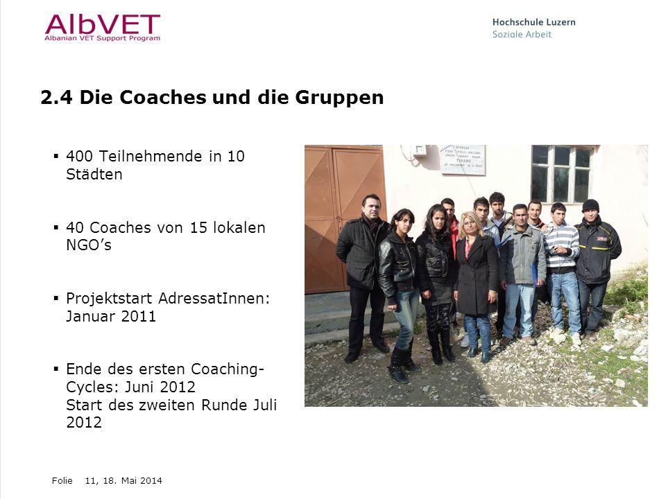 Folie11, 18. Mai 2014 2.4 Die Coaches und die Gruppen 400 Teilnehmende in 10 Städten 40 Coaches von 15 lokalen NGOs Projektstart AdressatInnen: Januar