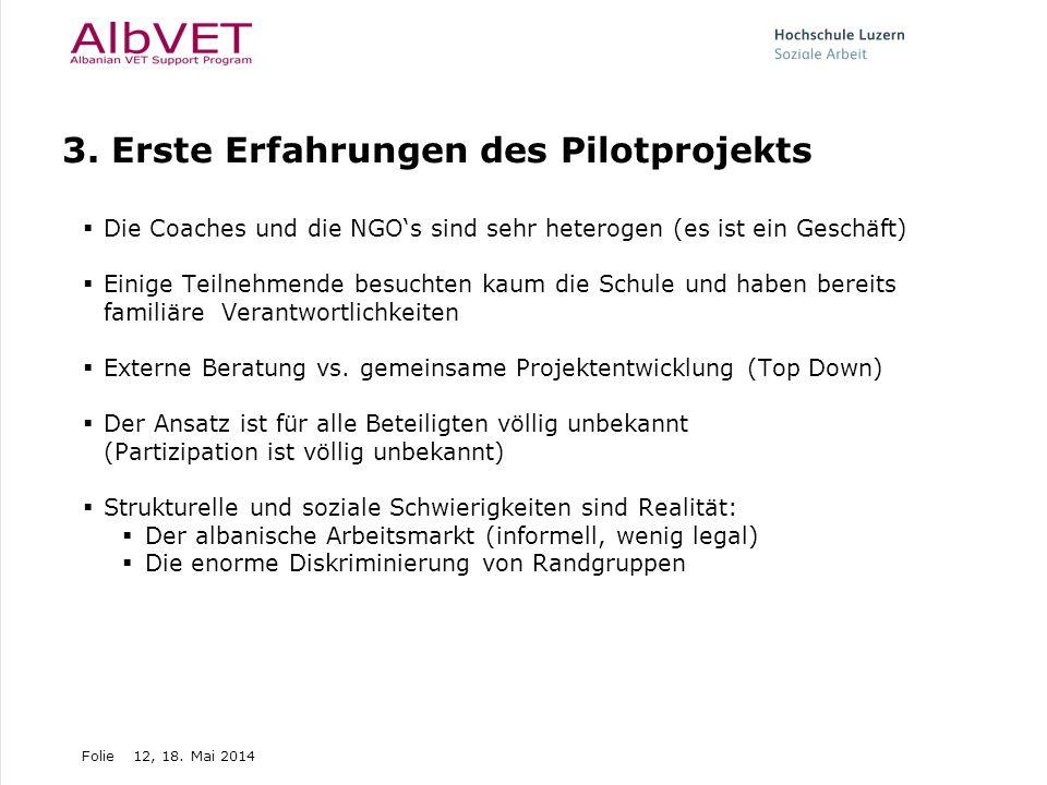 Folie12, 18. Mai 2014 3. Erste Erfahrungen des Pilotprojekts Die Coaches und die NGOs sind sehr heterogen (es ist ein Geschäft) Einige Teilnehmende be