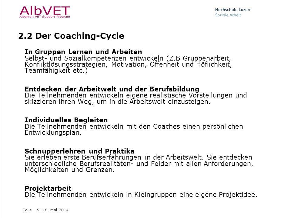 Folie9, 18. Mai 2014 2.2 Der Coaching-Cycle In Gruppen Lernen und Arbeiten Selbst- und Sozialkompetenzen entwickeln (Z.B Gruppenarbeit, Konfliktlösung