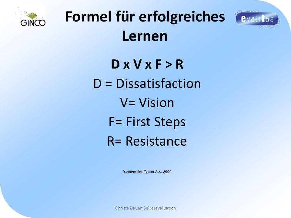 Christa Bauer, Selbstevaluation Formel für erfolgreiches Lernen D x V x F > R D = Dissatisfaction V= Vision F= First Steps R= Resistance Dannemiller T