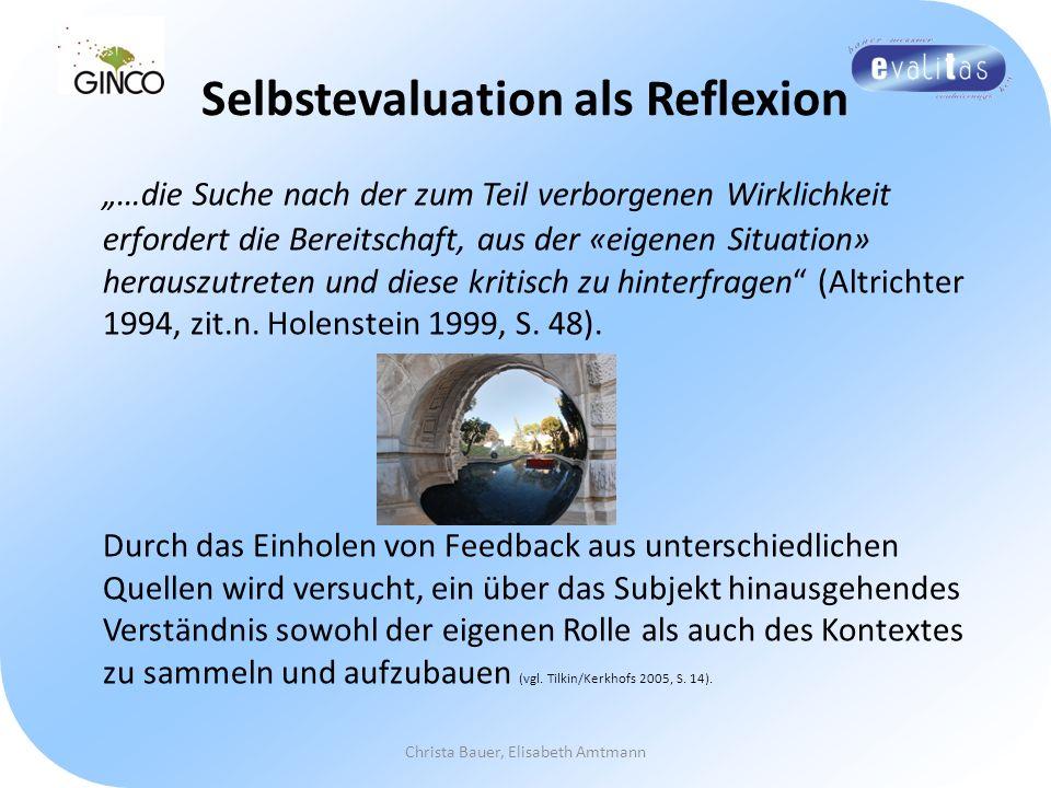 Selbstevaluation als Reflexion …die Suche nach der zum Teil verborgenen Wirklichkeit erfordert die Bereitschaft, aus der «eigenen Situation» herauszut