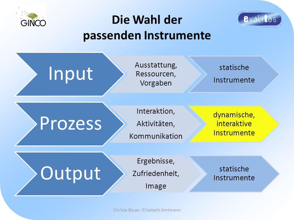 Die Wahl der passenden Instrumente Input Ausstattung, Ressourcen, Vorgaben statische Instrumente Prozess Interaktion, Aktivitäten, Kommunikation dynam